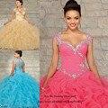 Vestidos de Quinceanera princesa Fushcia azul Vestidos de Debutante vestido para 15 anos cristal Ruffles Vestidos Quinceanera