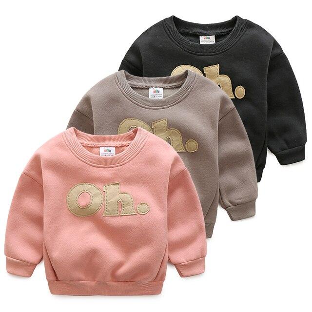 Осень зима Новый 2016 Мальчик Девушки Толстовки Одежда девушки флис футболка дети топы с длинным рукавом пуловеры детская одежда