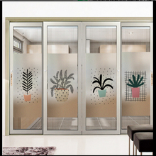Window Glass stickers Nordic plant frosted glass film window opaque bathroom office