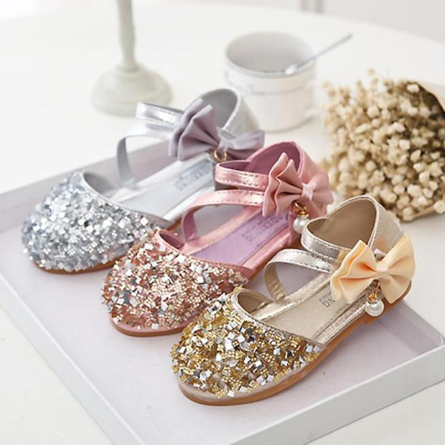 e5ae53ae2 2018 Kids Girls Soft Shoes Children Princess quality Glitter Sandals Square  Low-heeled Dress Party