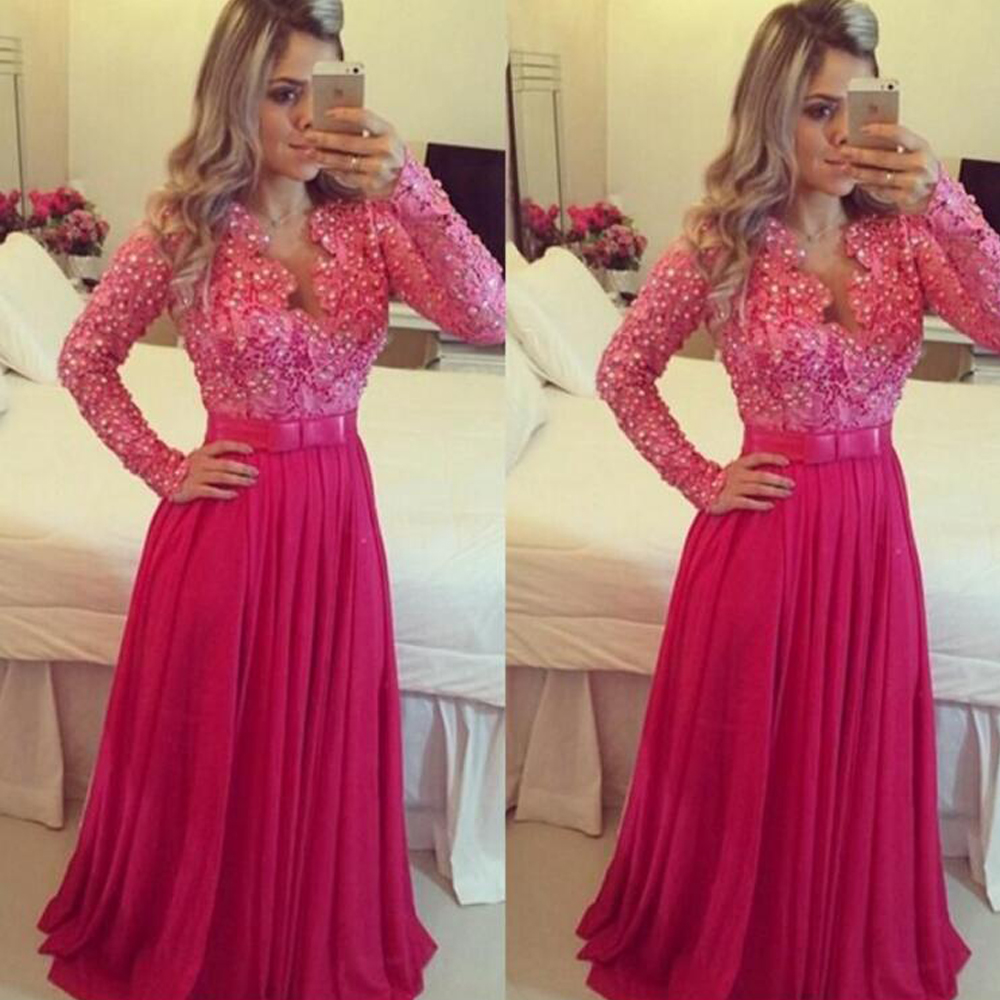 Elegant Long Sleeves Beach   Prom     Dresses   2019 Pearls   Dress   For Graduation Party   Dresses   Sexy Formal Gowns Homecoming   Dress
