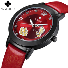 New Top Brand Flower Butterfly Genuine Leather montre femme Casual Dress Watch Ladies Wrist Quartz Watch Women Watches Red Clock
