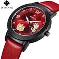 Nueva Marca de Fábrica Superior Flor de Mariposa Genuino Cuero montre femme Casual Vestido Reloj Señoras Reloj de Pulsera de Cuarzo de Las Mujeres Relojes Del Reloj Rojo
