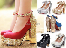 2016 new fashion Sequins strappy thick high heels platform wedding pumps sexy ankle atrap party font