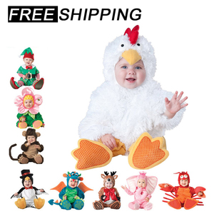 2019 new Baby Rompers Winter Animal Pirate Dinosaur Penguin Santa Claus Deer Toddler Christmas Carnival Halloween Elf Costume(China)