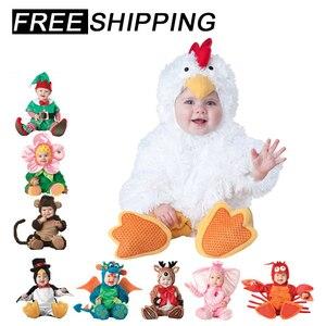Image 1 - 2019 nieuwe Baby Rompertjes Winter Dier Piraat Dinosaurus Penguin Kerstman Herten Peuter Kerst Carnaval Halloween Elf Kostuum