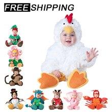 ¡Novedad de 2019! Peleles de bebé, disfraz de Halloween de invierno de animales pirata, dinosaurio, pingüino, Papá Noel, ciervo, Infante, Carnaval de Navidad y elfo