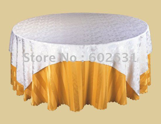 STC038,Table cloth for home/hotel/restaurant,White table top layer+gold bottom layer,100% polyester,washable and durable