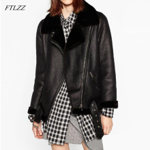 FTLZZ, новинка, зимнее женское пальто из овчины, утолщенное, искусственная кожа, мех, Женское пальто, меховая подкладка, кожаная куртка, куртка Авиатор
