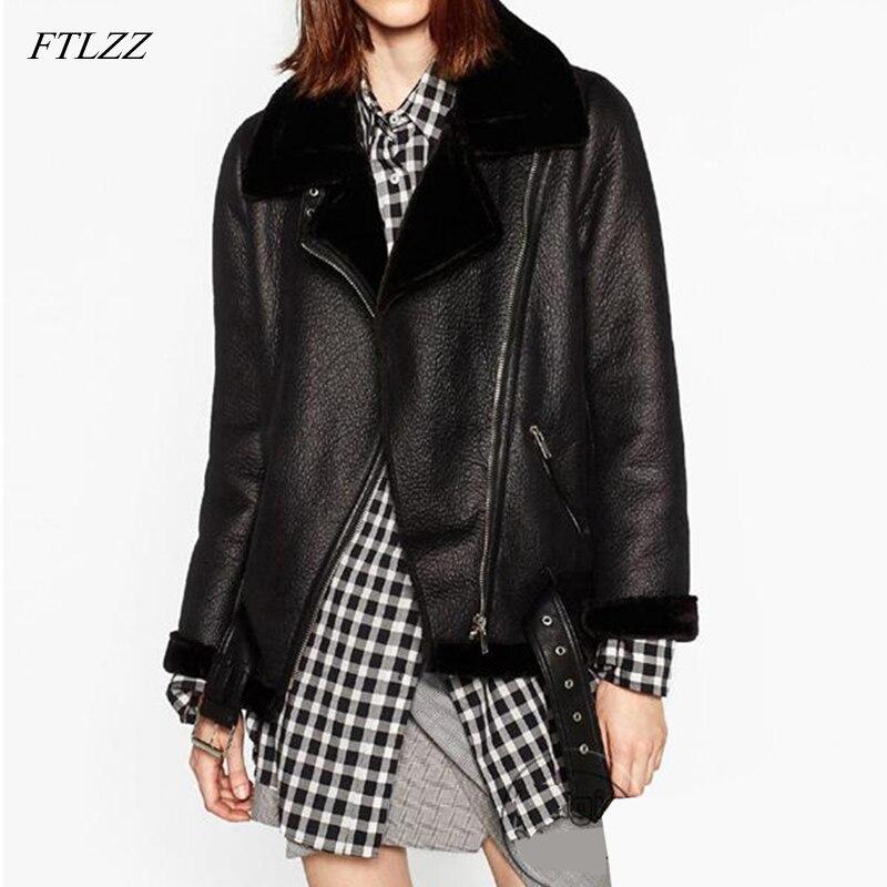 FTLZZ 2019 New Winter Women Sheepskin Coats Thicken Faux Leather Fur Female Coat Fur Lining Leather Jacket Aviator Jacket
