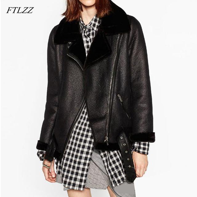 FTLZZ 2020 New Winter Women Sheepskin Coats Thicken Faux Leather Fur Female Coat Fur Lining Leather Jacket Aviator Jacket