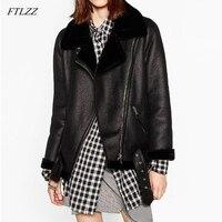 FTLZZ 2020 New Winter Women Sheepskin Coats Thicken Faux Leather Fur Female Coat Fur Lining Leather Jacket Aviator Jacket