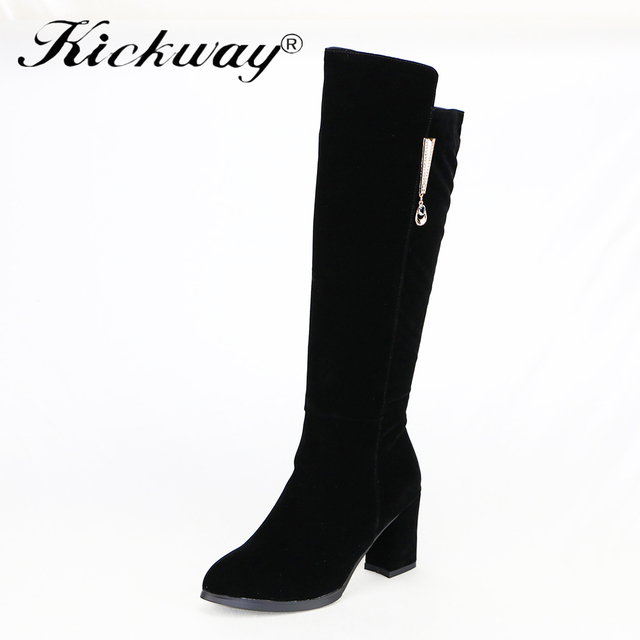Kickway Women Knee Boots Winter 2017 High Heel Black flock Boots Chaussure Femme  Talon Botas Zapatos e2bf0af7b8b3