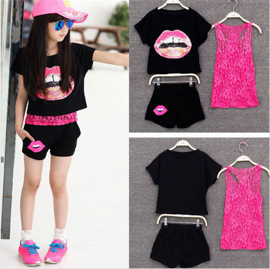 Clothing for Teen Girls 3 Pieces Sets 2016 Summer Kids Girl Clothes Set Lace Tank Top & T-shirts & Shorts Fit 6-14 yrs free ship