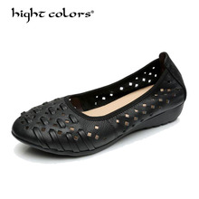 2017 Genuine Leather Round Toe Women Flat Shoes BROWN+BLACK+KHAKI+ORANGE+BEIGE Leisure Lady Casual Shoes Hollow Women's Loafers цены онлайн