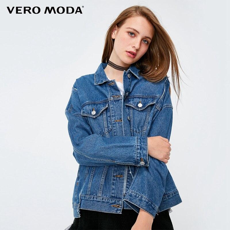 Vero Moda 2019 New Women's Loose Fit Irregular Washed Splice Denim Jacket | 318357502
