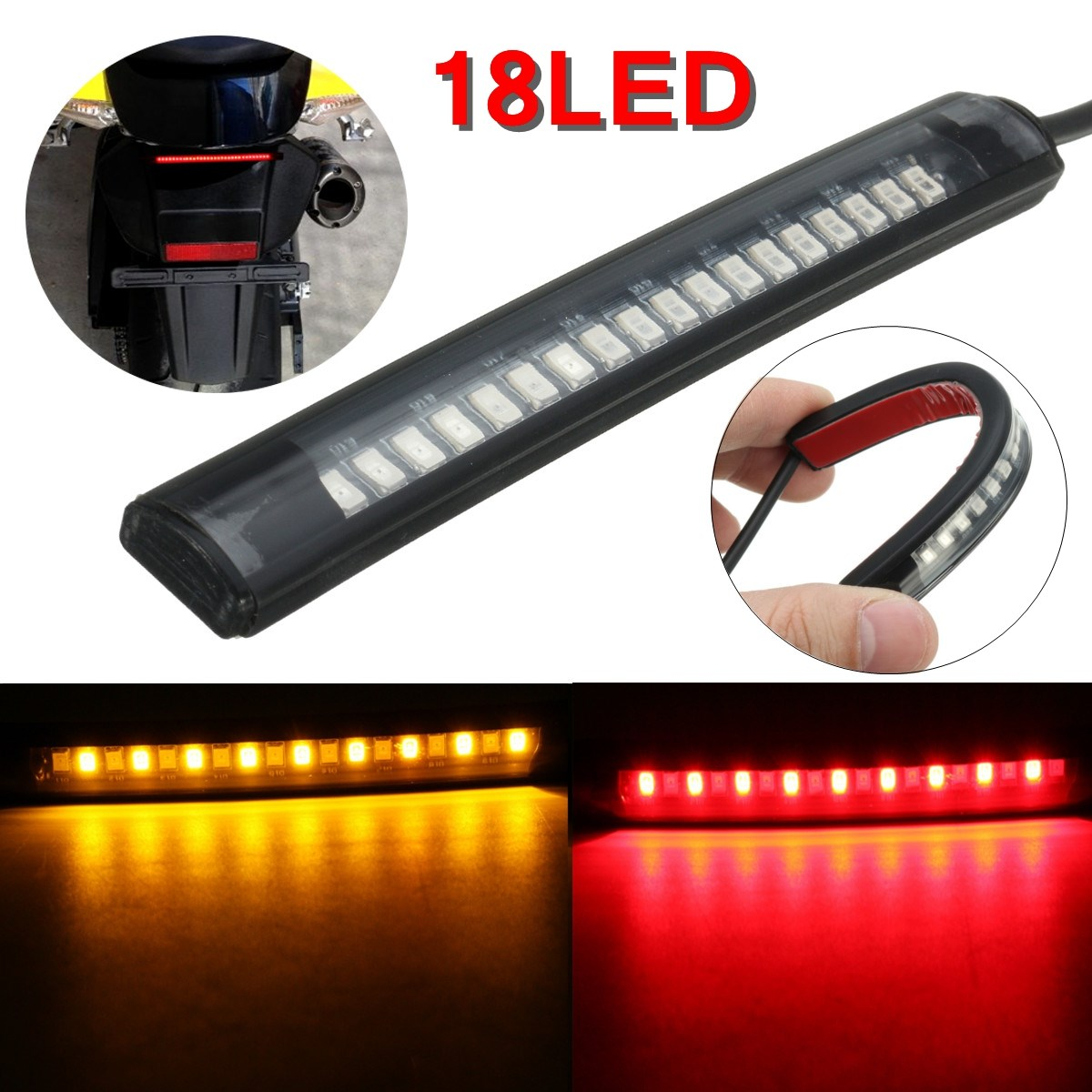 Universal 18 LED Motorcycle ATV Tail Lamp Rear Brake Light Stop Turn Signal Lamp Flexible Strip Lights For Honda Cafe Racer