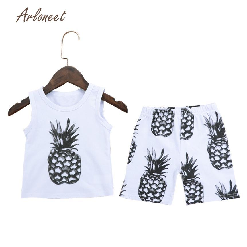 ARLONEET children clothes fashion girls clothes cute boys clothes summer Pineapple Tops Shirt+Pants Outfits Set dec21