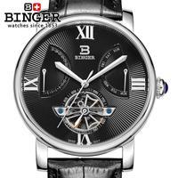 Suisse montre pour hommes de luxe marque Montres BINGER horloge Mécanique Plongeur étanche bracelet en cuir montre BG-0408-2