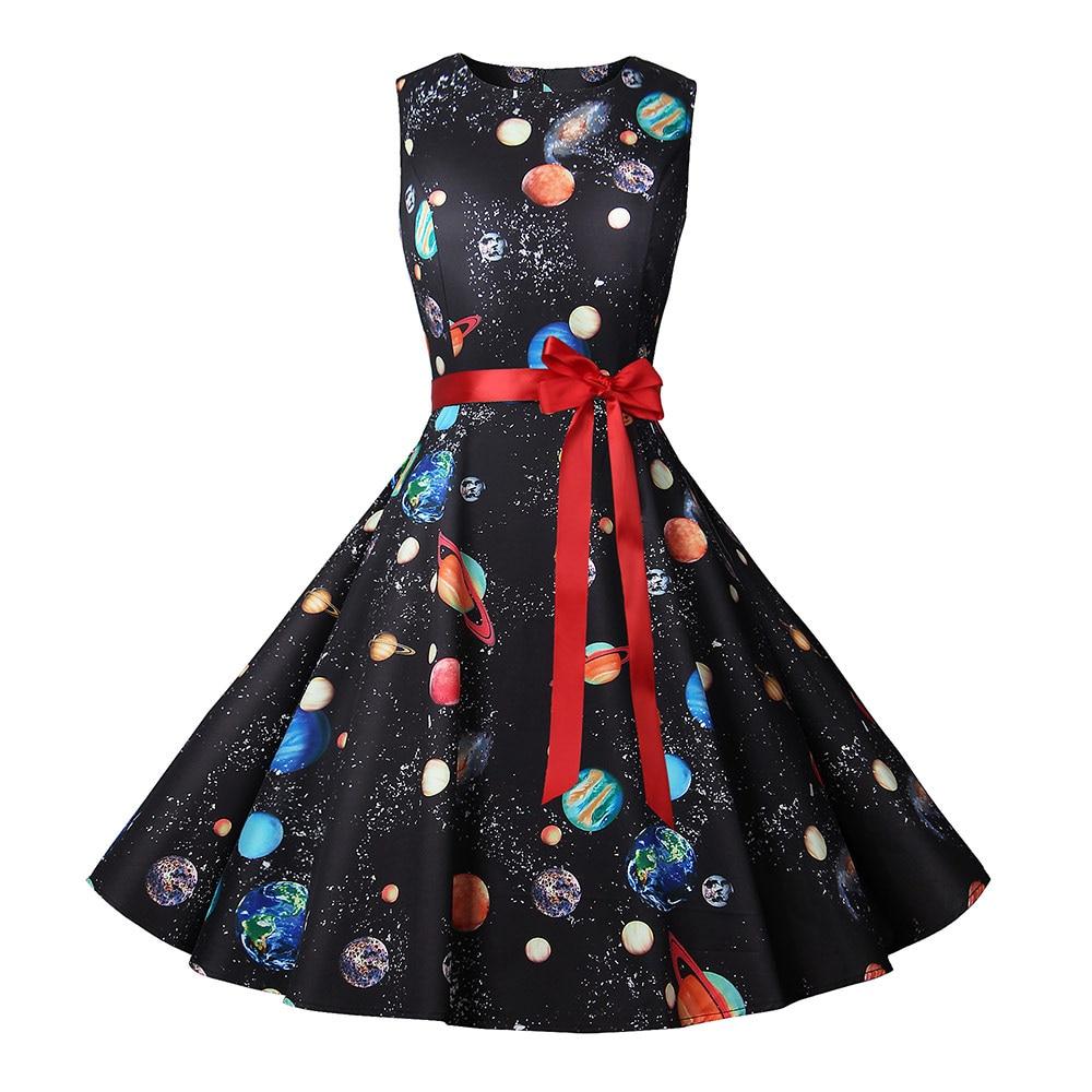Summer Dress Women New Cosmic Planet Print Vintage Dress With Belt Sleeveless Elegant Party Retro Dresses Sundress Vestido