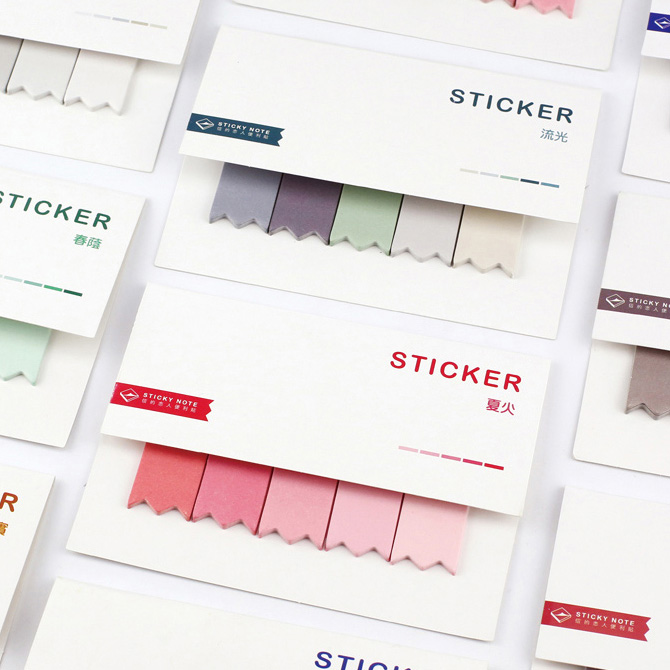 Water Color Self-adhesive Sticky Notes Memo Pads Bookmark Index Stickers recycle bin sticky memo pads 60sheets