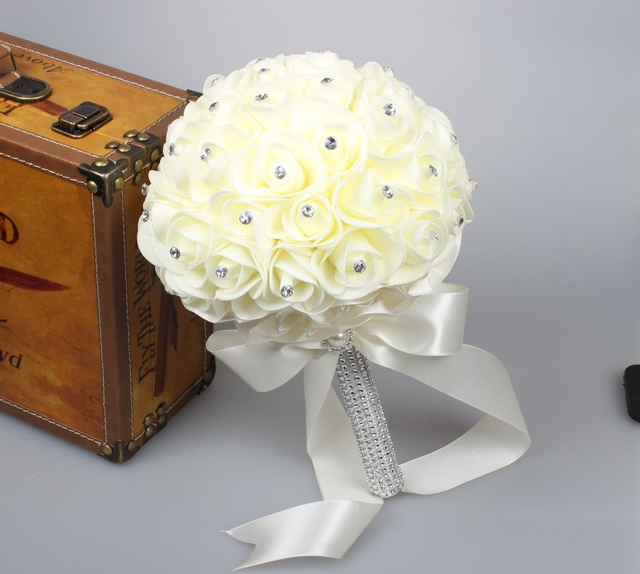 Beautiful-White-Ivory-Bridal-Bridesmaid-Flower-wedding-bouquet-artificial-flower-rose-bouquet-Crystal-bridal-bouquets