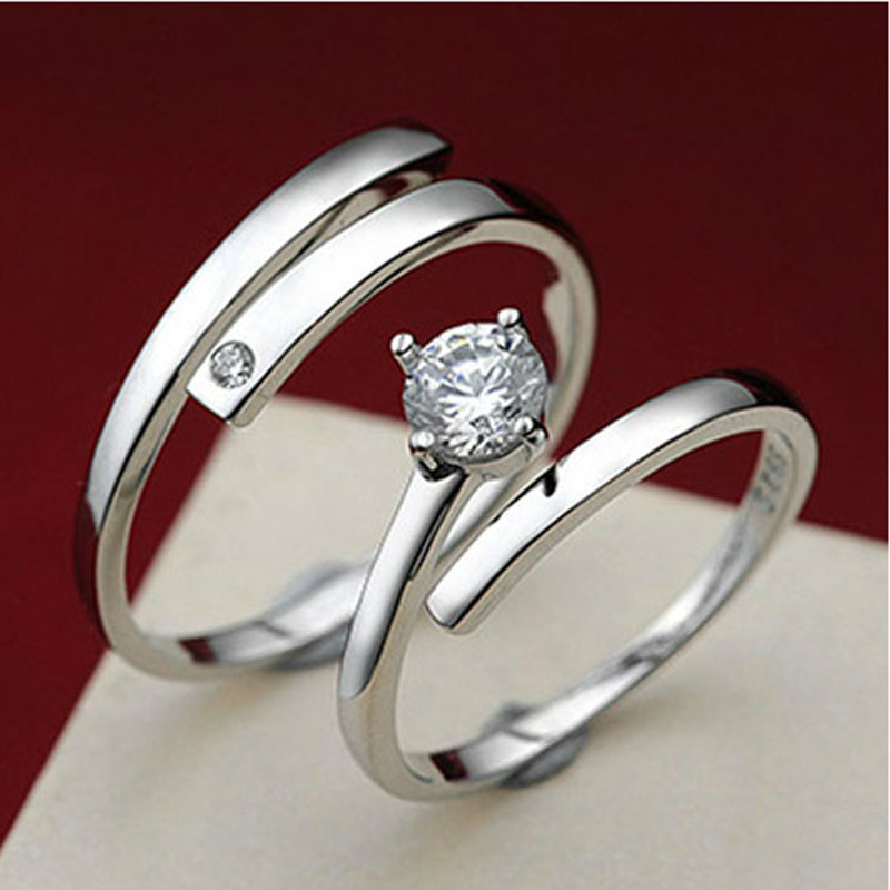 8cce1550ad Aliexpress.com : Buy Open Couple Ring Silver Plated Rings For Women Zircon  Anel Men Jewelry Anillos Jewellery Aneis Anillos Aneis Love Gift Wholesale  from ...