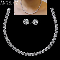 ANGELCZ Classic Ladies Wedding Costume Jewelry For Women Gorgeous Round Cubic Zirconia Bridal Party Necklace Earrings