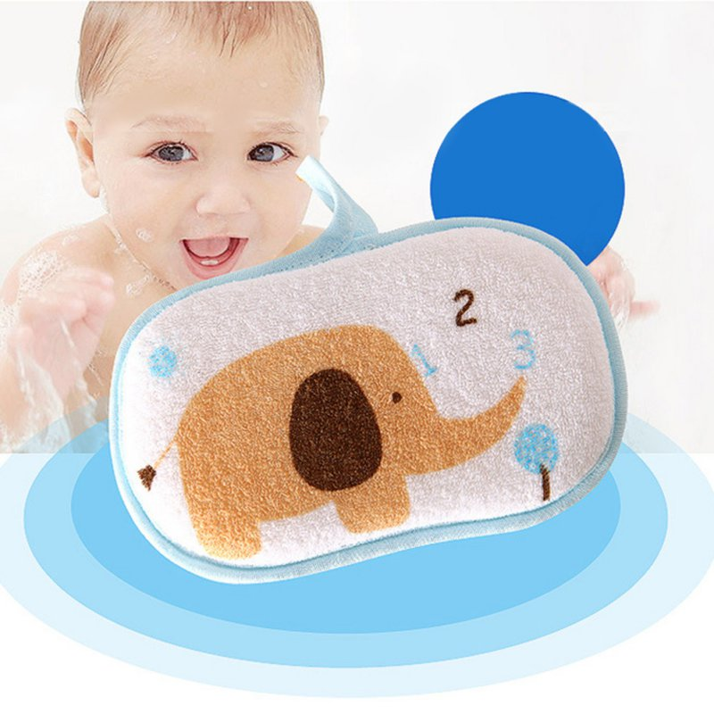 Soft Safe Newborn Baby Bath Brush Cotton Rub Cute Cartoon Sponge ...