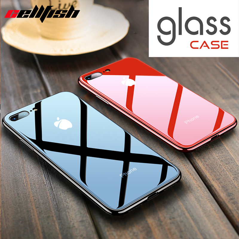 Tempered Glass Phone Case for Coque iPhone 7 8 Plus 6s 10 Original Logo Mirror Silicone Cover for Capinha iPhone XS Max XR Funda