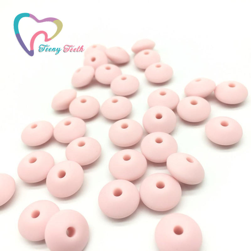 Teeny Teeth 50 PCS Soft Pink Lentils Silicone Beads For Teething Necklace Baby Teether Toy Accessories Silicon Pacifier Beads