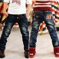 Alta calidad al por menor primavera pantalones de los cabritos de las muchachas del bebé chicos vaqueros niños pantalones vaqueros para niños pantalones de mezclilla ocasional 3-12Y ropa del niño