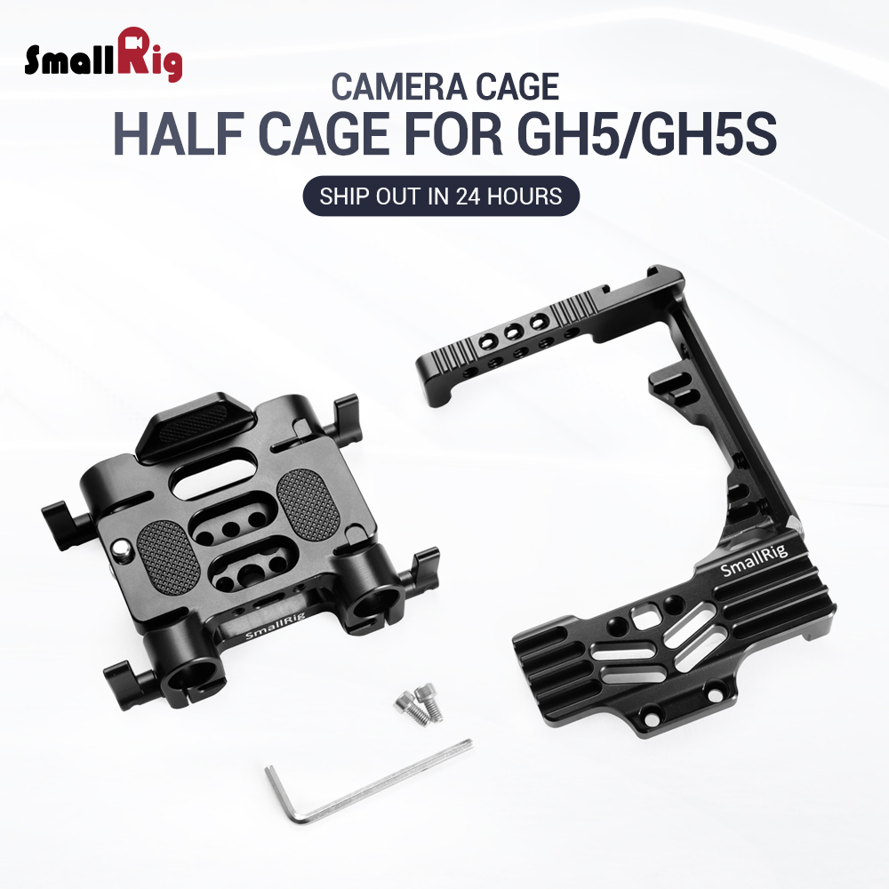 SmallRig GH5 Camera Stabilizer Half cage Kit for Panasonic Lumix GH5 /<font><b>GH5S</b></font> Camera with Battery Grip With 15mm Rod Clamp 2024 image