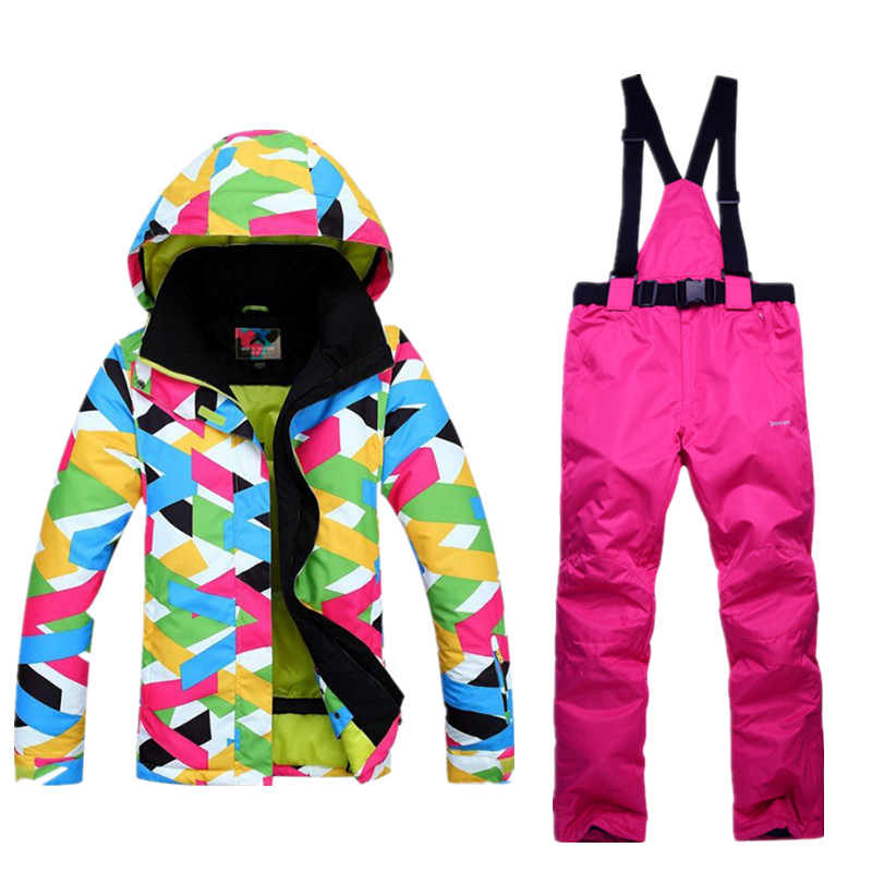 2017 Winter Snow jacket Women Ski Suit Female Snow Jacket And Pants Windproof Waterproof Colorful Clothes Snowboard sets 2017 new women snow ski suit windproof waterproof breathable women s snowboard colorful clothes winter ski jacket and pants