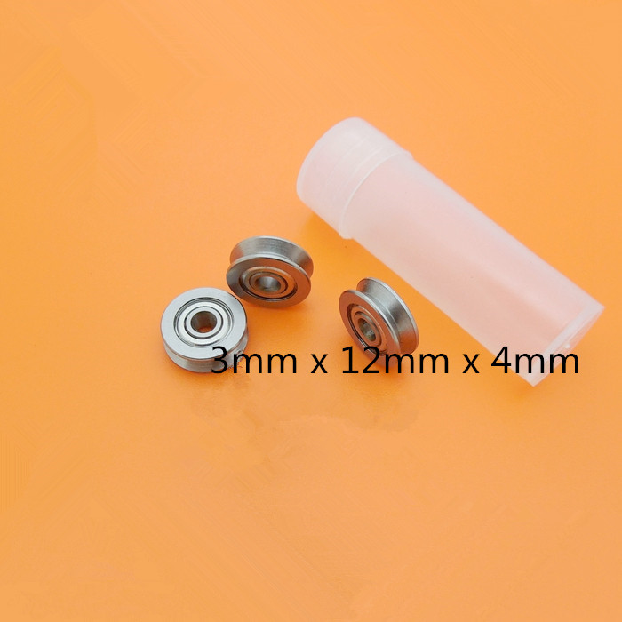 Metal Sealed Guide Deep V Groove Pulley Rail Ball Bearing 3mm x 12mm x 4mm 10pcs 5x10x4mm metal sealed shielded deep groove ball bearing mr105zz