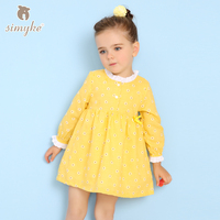 Simyke Kids Dress For Girl With Long Sleeve 2018 Spring Girls Cute Yellow Dresses Kids Clothing