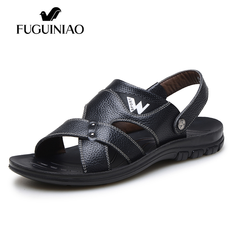 Free shipping FUGUINIAO brand Cow Leather Summer Leisure Beach Men s sandals color black brown Size