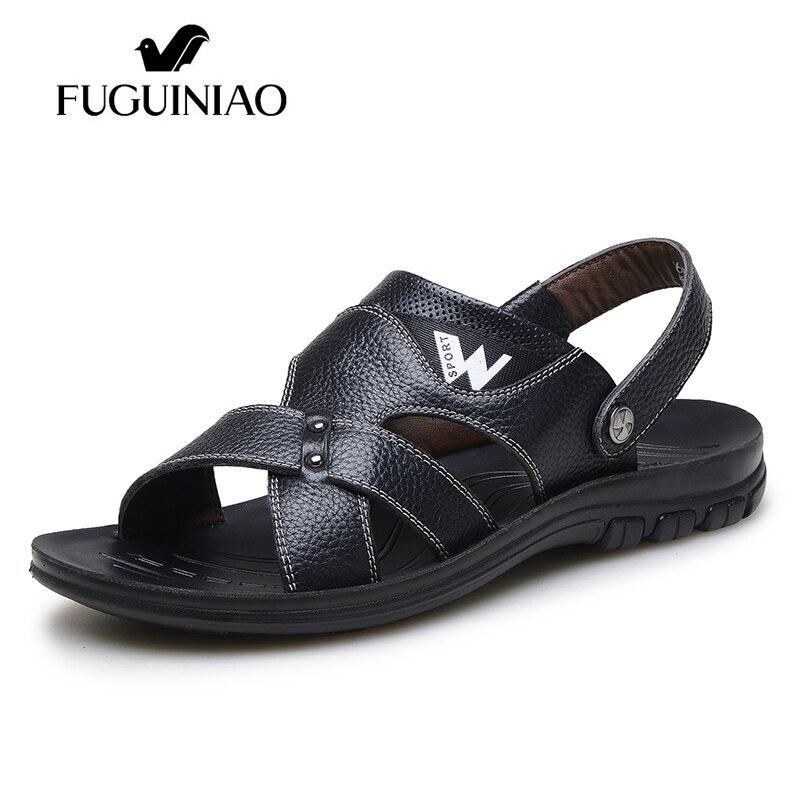 จัดส่งฟรี! FUGUINIAOยี่ห้อหนังวัวฤดูร้อนสันทนาการหาดผู้ชายรองเท้าแตะ/สีสีดำ,สีน้ำตาล/ขนาด38 44-ใน รองเท้าแตะผู้ชาย จาก รองเท้า บน   1