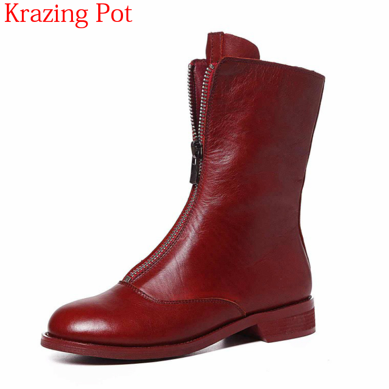 2018 Round Toe Genuine Leather Zipper Square Toe Ankle Boots Motorcycle Boots Low Heel Brand Luxury Round Toe Chelsea Boots L65 round toe flat heel zipper ankle boots