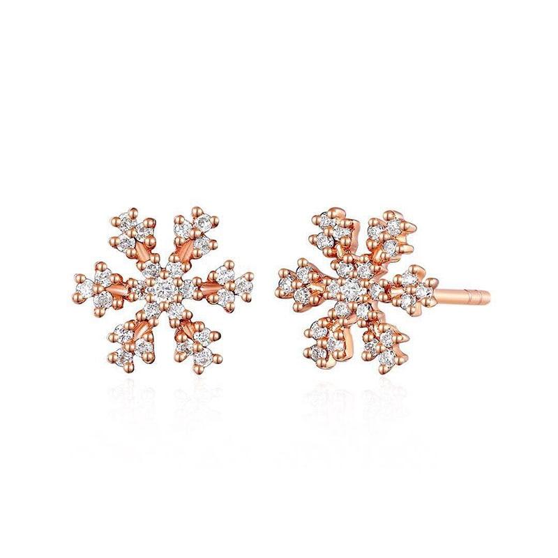ANI 18K Rose Gold (AU750) Women Diamond Earrings 0.172 CT Certified I-J/SI Natural Diamond Snow Stud Earring boucle d oreille серьги кольца fashion in 40 d oreille brincos argola pequeno 40er 1
