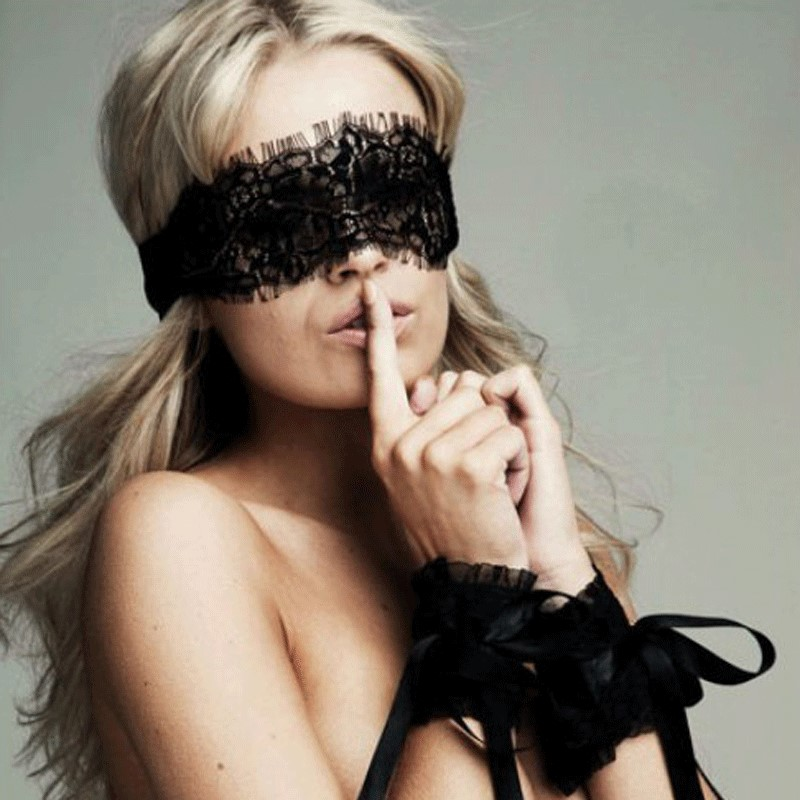 Adult Sex Products Women's Babydoll Sexy Erotic Lingerie Hot Black Lace Eye Covers With Handcuff Sex Toy Costumes Role Play