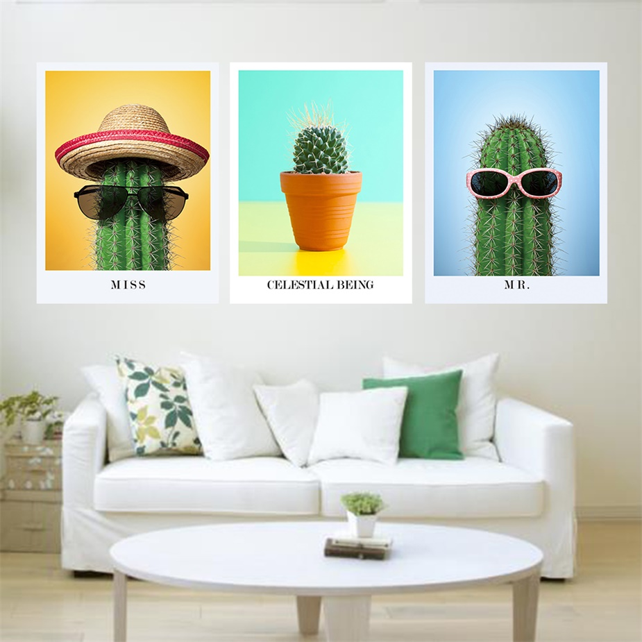 Laeacco Canvas Painting Calligraphy Fun Green Cactus Mr and Miss Plant Nordic Art Wall Pictures Modern Home decor Living Room in Painting Calligraphy from Home Garden