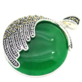 925 Sterling Silver Natural Green Jade Round  Marcasite Round Pendant 35MM