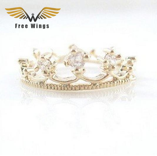 2016 Crown Rings Fashion Hollow Rhinestone Crystal Wedding Rings For Women Jewellery Bague Femme Bijoux US Size 6.75 R009 ABC