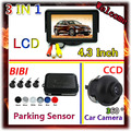 4.3 Inch Car Monitor For CCD car camera parking  DVD VCD 2 Video Input & 4 sensor de estacionamento 7 Color Parking sensor Kit