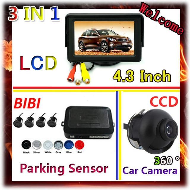4.3 Inch Car Monitor For CCD car camera parking  DVD VCD 2 Video Input & 4 sensor de estacionamento 7 Color Parking sensor Kit