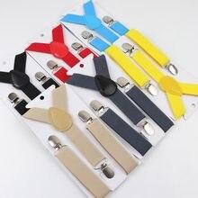 Suspensório elástico de clipe para meninos e meninas, cor sólida, presilha y, suporte traseiro para crianças, ajustável