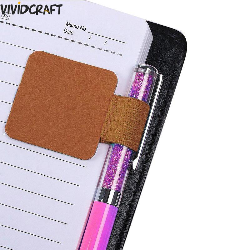 1 Pc Colored Leather Traveler Journal Notebook Clip Pen Holder Cowhide Diary Spiral Loose Leaf Accessory Self-adhesive Clip