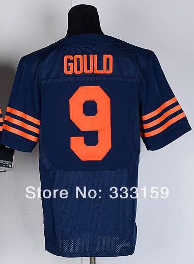 53e53f02640 Navy Robbie Gould Jersey Men s  9 Robbie Gould Elite Alternate 1940s Navy Football  Jersey Stitchwork Design Orange Number