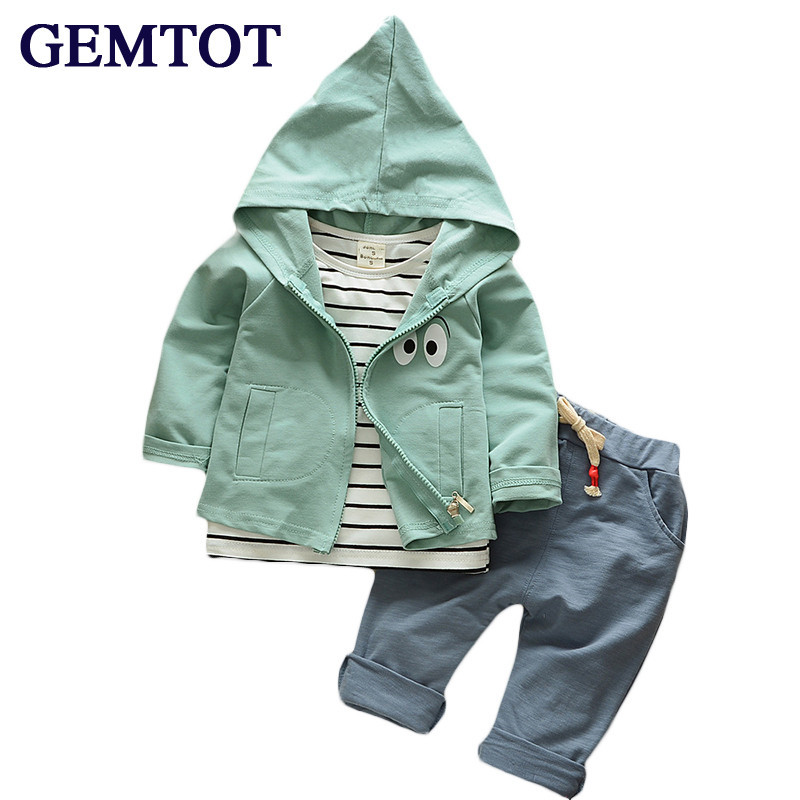 GEMTOT baby clothing set cotton autumn hoodies + pants + t-shirt 3 pcs children outerwear kids clothes suit 2 Yrs newborn outfit